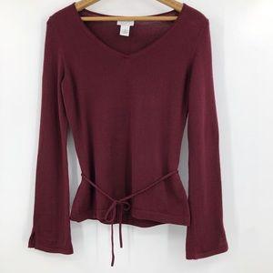 Loft merino wool v neck sweater tie waist maroon